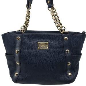 Michael Kors Dark Blue L Grain Leather Tote Bag